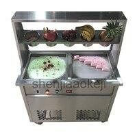 Máquina de rolo de Aço inoxidável fry ice cream ZB-CBJ21 Duplo pan Fried Ice Cream Maker Frito máquina de iogurte 220 V/ 110 V 1 pc