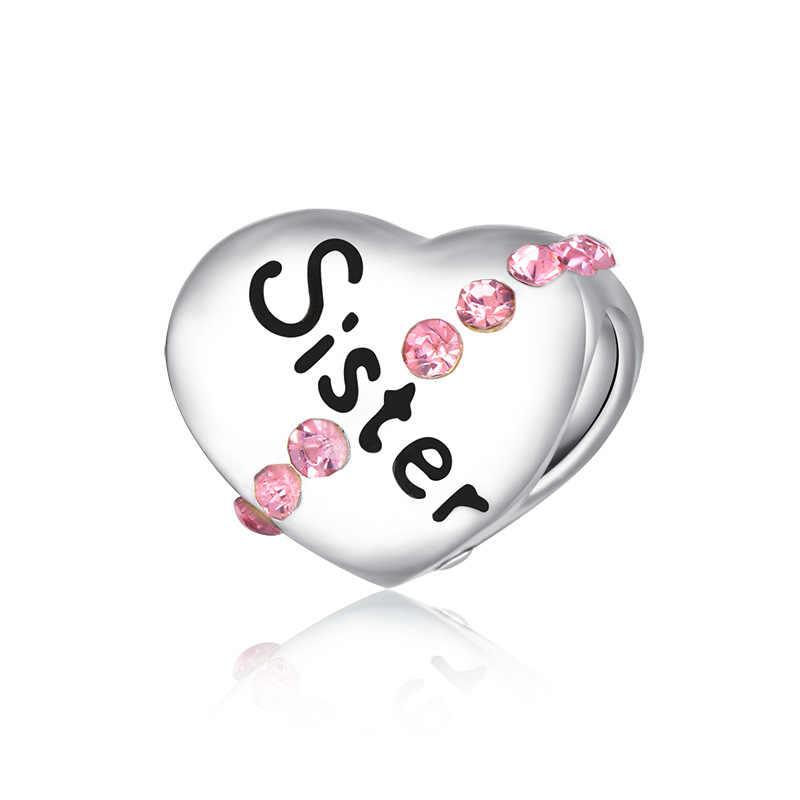 ¡Novedad de 2019! 1 unidad de pulsera de plata para Hermanas nan, mamá, niño, mamá, papá, me, abalorios diy compatibles con Pandora, pulsera de plata original para mujer F111