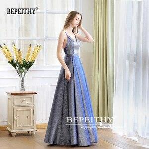 Image 4 - גלימת דה Soiree רעיוני שמלת V צוואר ארוך שמלת ערב המפלגה אלגנטי 2020 קו Shinny שמלות נשף עם חגורה