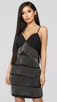 Top Quality Black Sequined Tassel Rayon Bandage Dress Birthday Party Sparkly Dress