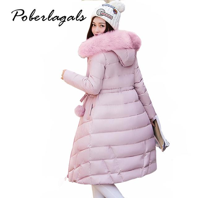 2016 Mulheres Espessamento Inverno gola De Pele das Mulheres Parka casaco Amassado Fêmea Outerwear Jaqueta Moda Algodão-acolchoado Casaco Longo casaco