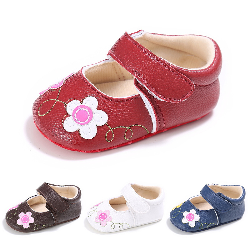 PU Leather Newborn Baby Boy Girl Baby Moccasins Soft Moccs Shoes Bebe Floral Soft Soled Non-slip Footwear Crib Shoes