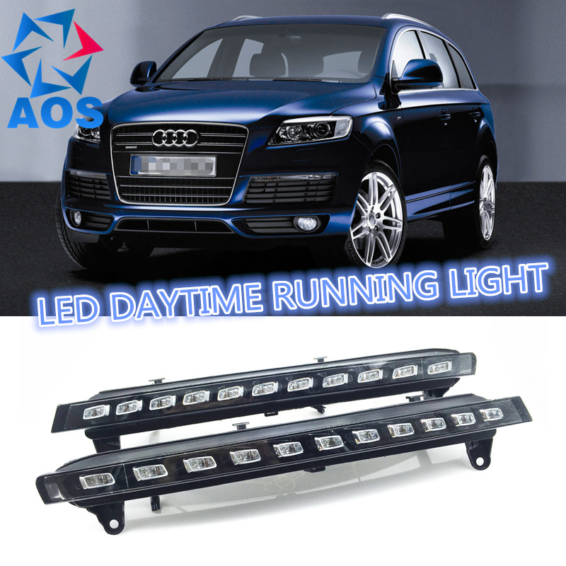 2PCs/set Auto LED DRL set Daylight Car Daytime Running lights For Audi Q7 2005 2006 2007 2008 2009 2010 new auto car led daytime running lights drl yellow turn signal fog lamp for audi q7 2006 2007 2008 2009