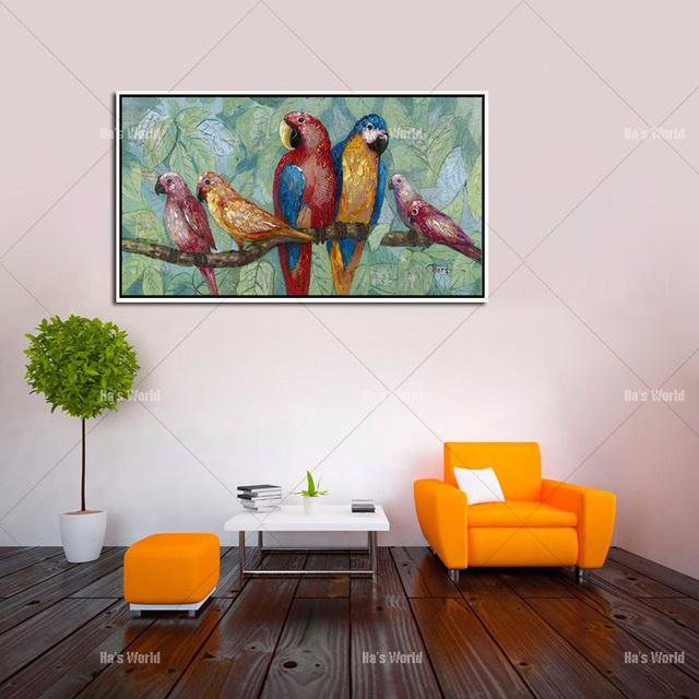Us 24 48 49 Off Colorful Parrots Handmade Canvas Oil Painting Birds Canvas Art Cute Lovely Bird Picture Abstract Home Decoration Wall Paintings In