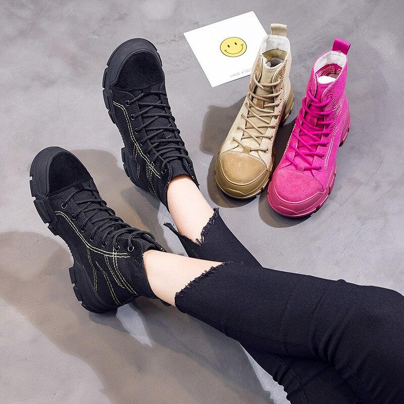 2018 autumn new hip hop street dance high to help women's shoes tide canvas casual platform boots Martin boots.