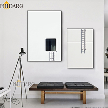 Modern Minimalist Black White Staircase Design Canvas Painting Nordic Posters And Prints Art Wall Pictures For Living Room Decor цена