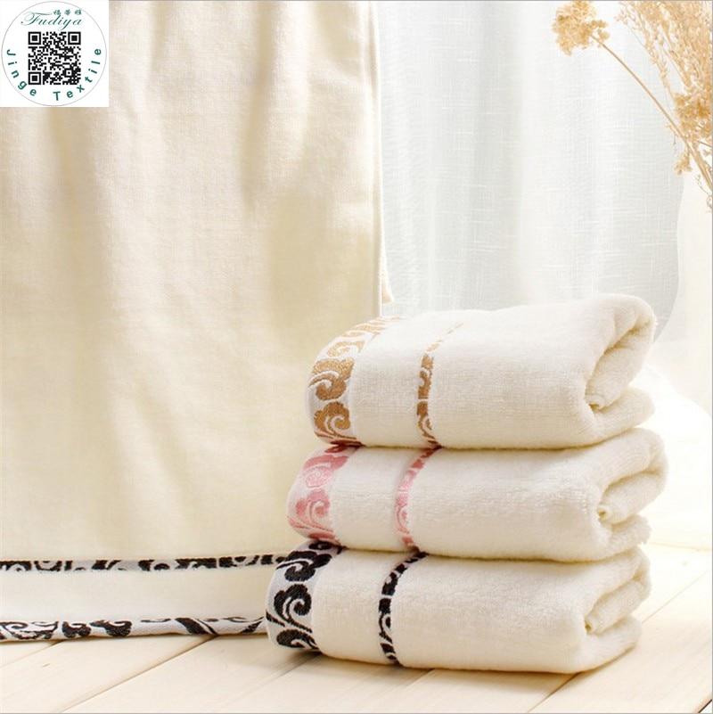 35 * 75cm 3pcs / lot Embd 100% cotone bagno asciugamani set, set di - Tessili per la casa
