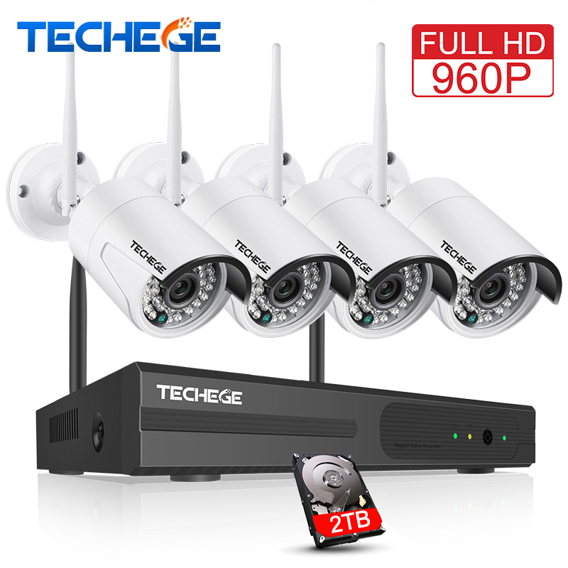 Techege 4CH CCTV System Wireless 960P NVR 4PCS 1.3MP IR Outdoor P2P Wifi IP CCTV Security Camera System Surveillance Kit 1TB HDD 4ch nvr 1tb hdd hard disk 4pcs 1 0mp ip camera ir weatherproof outdoor 720p cctv camera security system surveillance kit