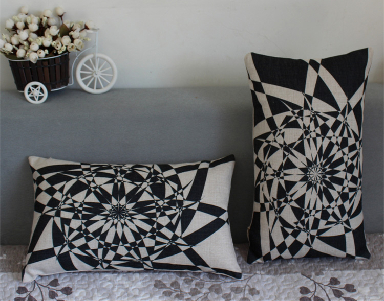 Cool Black Pillow Decor Geometric Sofa Home Throw Vintage Case Cushion