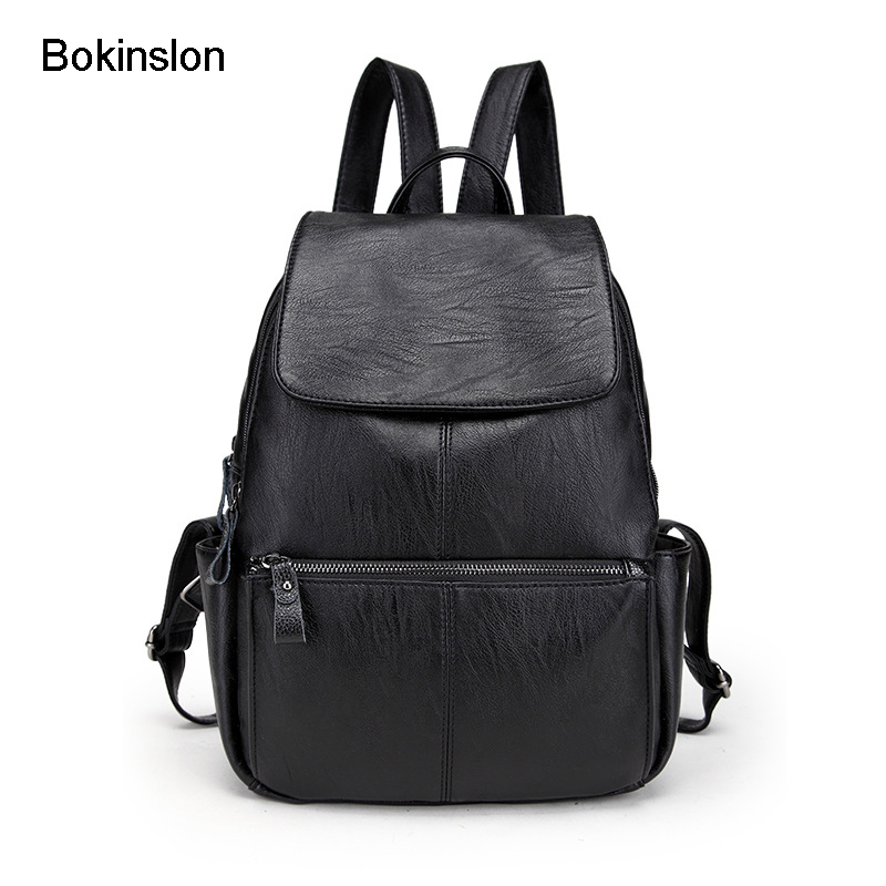 где купить Bokinslon Casual Backpacks Woman Split Leather College Wind Travel Bags Women Popular Solid Color Female Bags по лучшей цене