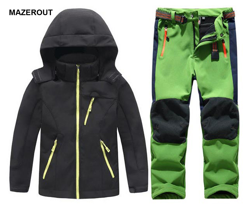 MAZEROUT Winter Boys Girls Waterproof Outdoor Softshell Jackets Kids Fleece Sportwear Camping Windproof Skiing Hiking Pant J31 new winter 3 in 1 kids hiking jackets children boys girls waterproof thermal two piece fleece coats hiking skiing jacket