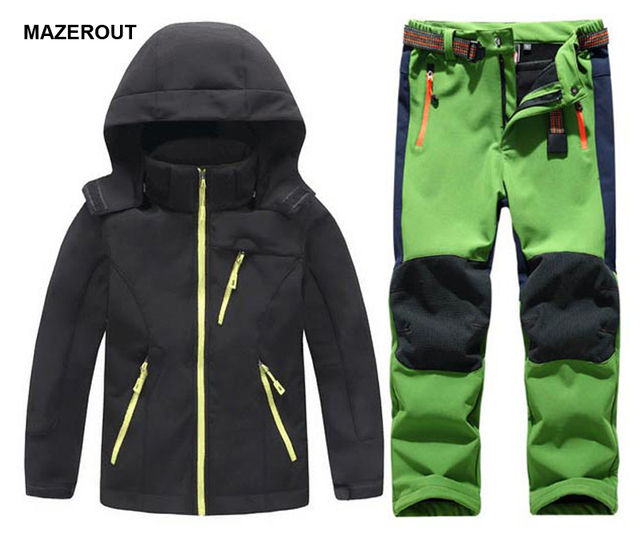 1b5a9c4e3c MAZEROUT Winter Boys Girls Waterproof Outdoor Softshell Jackets Kids Fleece  Sportwear Camping Windproof Skiing Hiking Pant J31