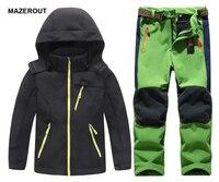 MAZEROUT Winter Boys Girls Waterproof Outdoor Softshell Jackets Kids Fleece Sportwear Camping Windproof Skiing Hiking Pant J31