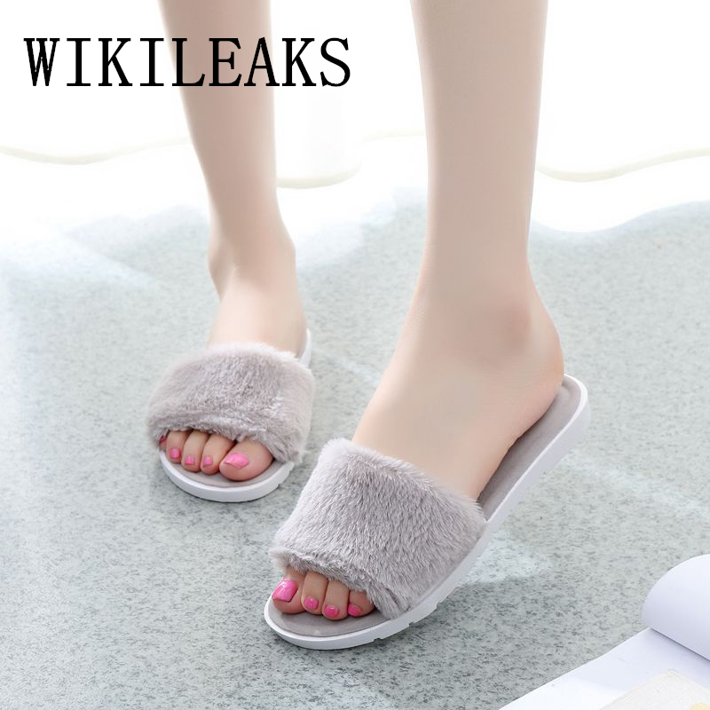 2018 gray fur slippers women shoes zapatillas chinelo terlik designer fuzzy home slippers high quality fashion fur slides woman flat fur women slippers 2017 fashion leisure open toe women indoor slippers fur high quality soft plush lady furry slippers