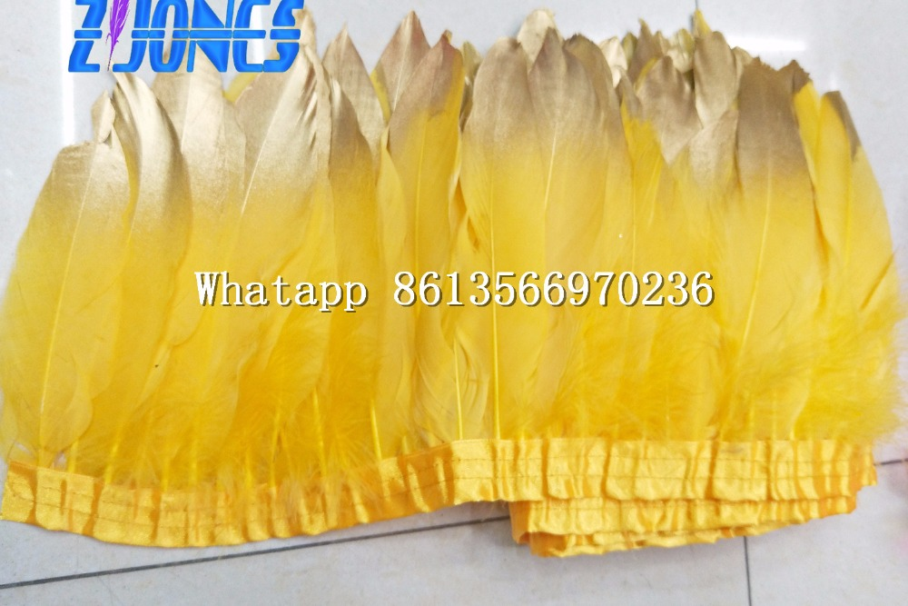 Gold Yellow Goose feather trims 10 meters/lot Dyed geese feather ribbons /15-20nch Duck feather fringes Free shipping