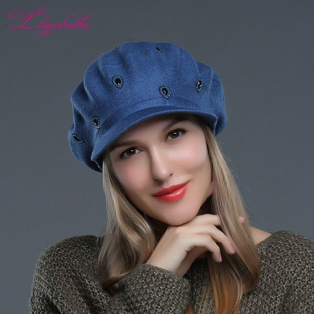 LILIYABAIHE chapeau tricoté en laine pour femmes   Chapeau à bord angora décoré avec bonnet artificiel pour filles, nouvelle collection