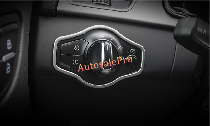 Stainless Interior Console Headlight Switch Buttom Frame Cover trim 1pcs For <font><b>Audi</b></font> <font><b>A4</b></font> B8 2008 2009 2010 2011 2012 <font><b>2013</b></font> 2014 2015 image
