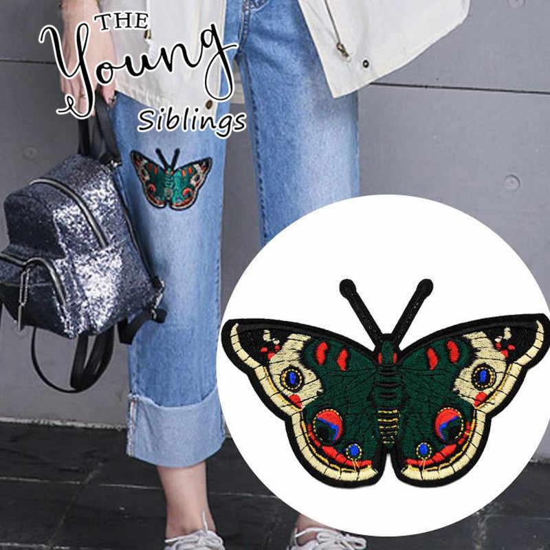 Butterfly Patch untuk Pakaian Besi Di Bordir Appliques DIY Aksesoris Pakaian Patch untuk Pakaian Kain Lencana