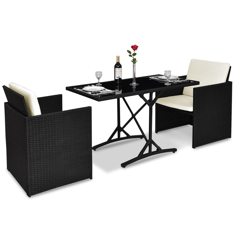 3 Pcs Black Patio Rattan Table Chairs Set With Cushions Glass Top Desk Durable Black Rattan Garden Furniture Set HW54805+