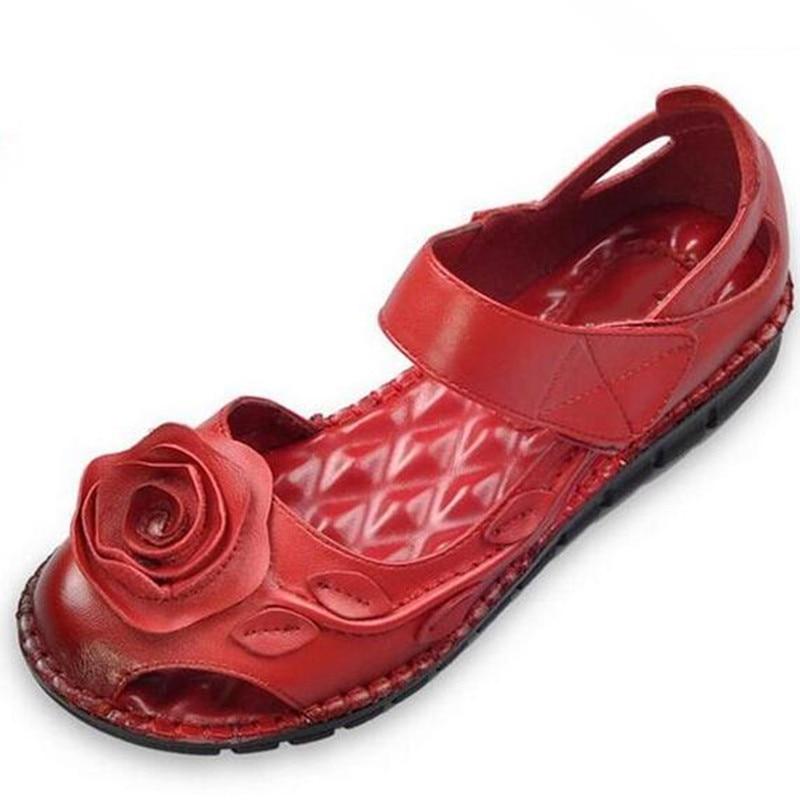 Schuhe gelb rot Retro Neue Weiche Bequeme Sommer Frauen Wind Flache blau Schwarzes Sandalen Rindsleder Handgemachte Nationalen 2019 Blumen nXqxTaq