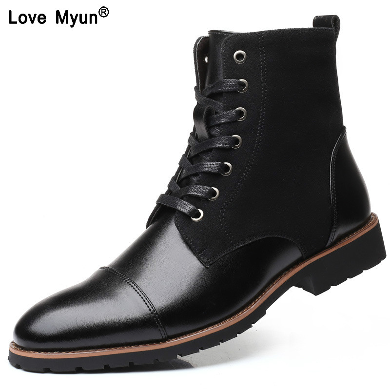 New Fashion Men Leather Shoes Waterproof Men Boots Comfortable Short Plush Black Winter Boots Quality Ankle Boots Business Men99