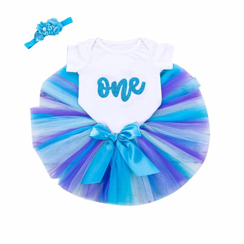 3Pcs Infant Baby Girls Birthday Letter Tutu Skirts Jumpsuit Headband baby girl clothes roupa infantil menino