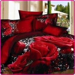 Unihome 3d rosa vermelha conjunto de cama único casamento roupas rainha tamanho 4 pçs algodão linho edredon/consolador/colcha conjuntos capa edredão