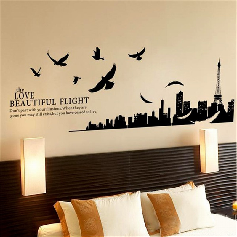 solid black city flying birds quote removable pvc vinyl decals home