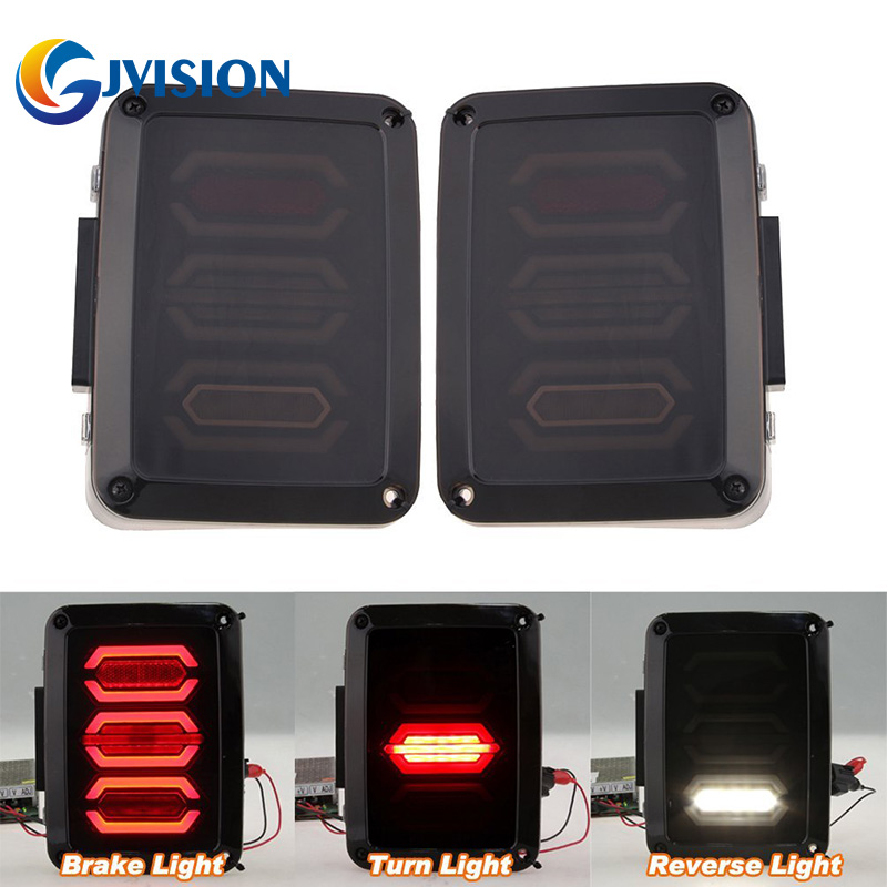 Smoked LED Tail lights for Jeep Wrangler Taillights Reverse light Real Back Up Turn signal lamp DRL FOR JK JKU Sports, Sahara auxmart 22 led light bar 3 row 324w for jeep wrangler jk unlimited jku 07 17 straight 5d 400w led light bar mount brackets