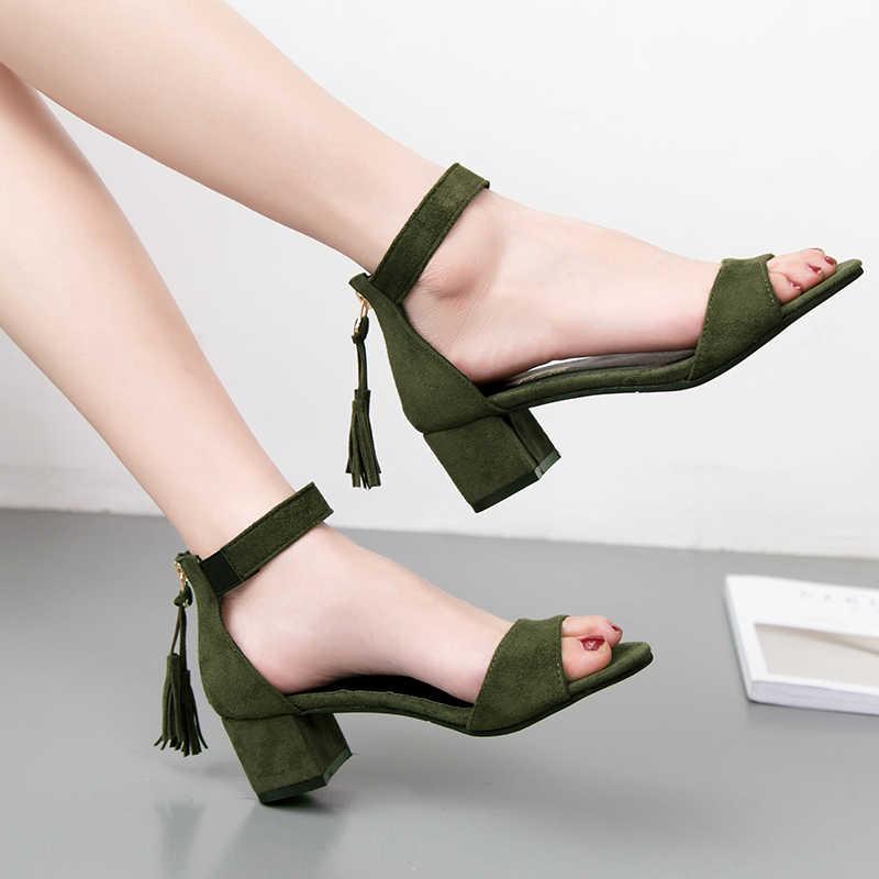 3e5962cb0 ... Woman Shoes 2019 summer Tassel Flock women sandals fringe sandal heels  Thick high heels sandals sandalias ...