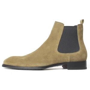 Image 4 - VIKEDUO bottines Chelsea pour hommes, classiques, faites à la main, à bout carré, chaussures pour bureau, mariage, automne, 2020