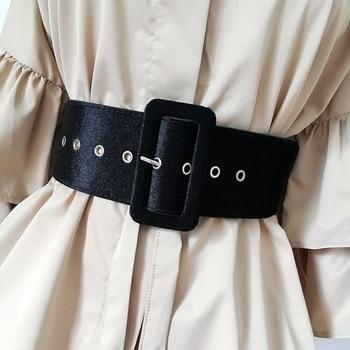 تصميم جديد أحزمة واسعة حزام فستان الإناث تزيين زنار الأزياء الفضة دبوس مشبك المخملية حزام حزب الحزام الأسود الفانيلا المرأة