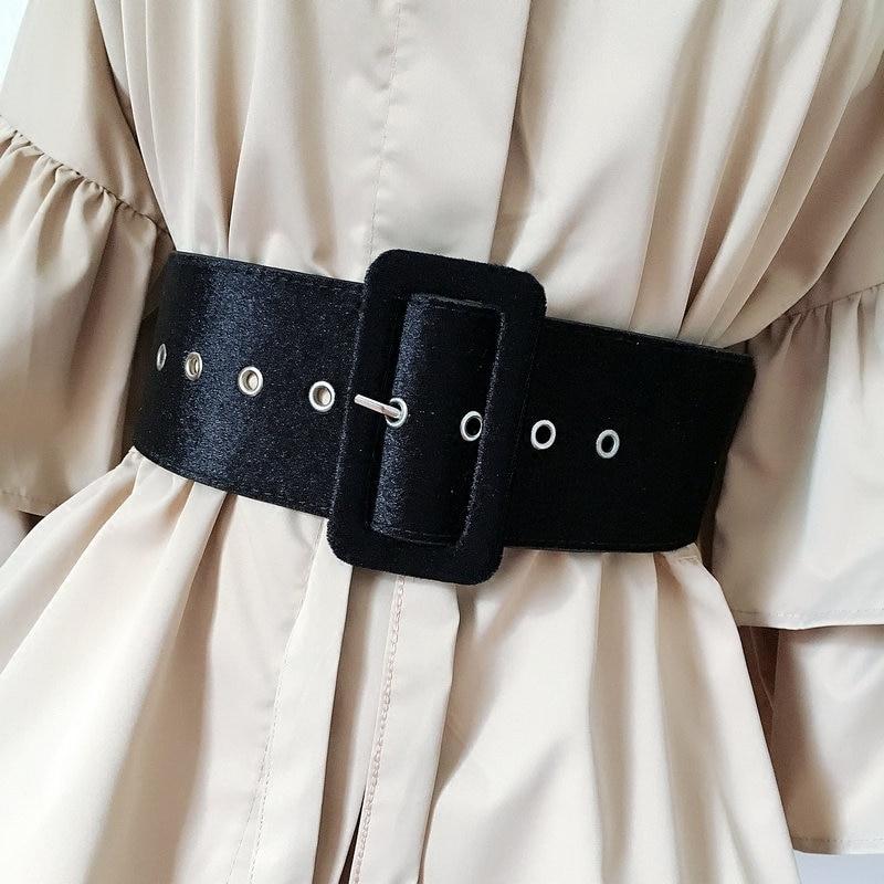 Nuevo diseño cinturón ancho para mujer cinturones de vestir decorar cintura moda plata hebilla de terciopelo cinturón de fiesta negro franela Mujer
