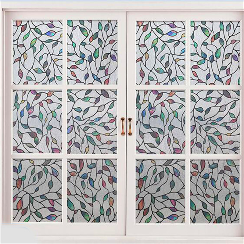 30/35/40/45/50/60 Home Decor 100 Cm Static Cling Stained Leaves Frosted Glass Decorative Window Film; No Glue 3d Privacy Window Stickers High Standard In Quality And Hygiene Back To Search Resultshome & Garden