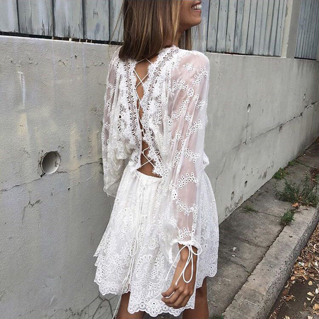 6e3e97622 Sexy Hollow Out White Lace Dress Women Summer See Through Beach Dresses  Elegant Long Sleeve Back Lace Up Backless Vestidos boho