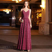 weiyin Sexy V Neck A-Line Evening Dresses Prom Gowns Formal Party Dress Vestido de Festa Elegant Luxury Robe Longue WY1106