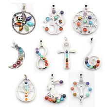 vintage chakra jewelry brass stone big pendants, with metal color alloy findings, mixed color, 40~60x18~40x4~9mm, hole: