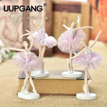 Resin Dancer Ballet Girls Angel Girl Miniature Ornaments Home Desk Cake Bookshelf Decor Decoration Frame Gifts Figurines Crafts