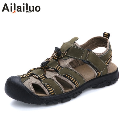 Men Sandals Genuine-Leather Causal-Shoes Breathable Plus-Size Beach Summer New-Fashion