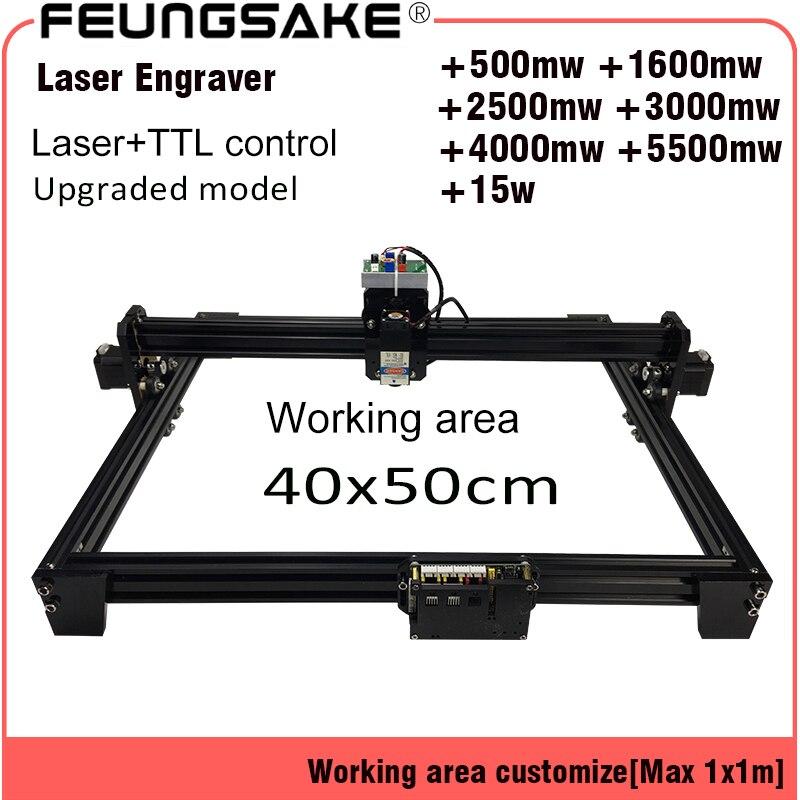 15 w laser machine PMW contrôle TTL, laser sculpture machine 5500 mw Laser graveur, 2500 mw DIY Laser Machine De Gravure, 40 50 cm Zone