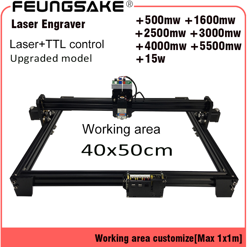 15 w macchina laser PMW TTL di controllo, intaglio macchina laser 5500 mw Laser incisore, 2500 mw FAI DA TE Macchina Per Incisione Laser, 40 50 cm Zona
