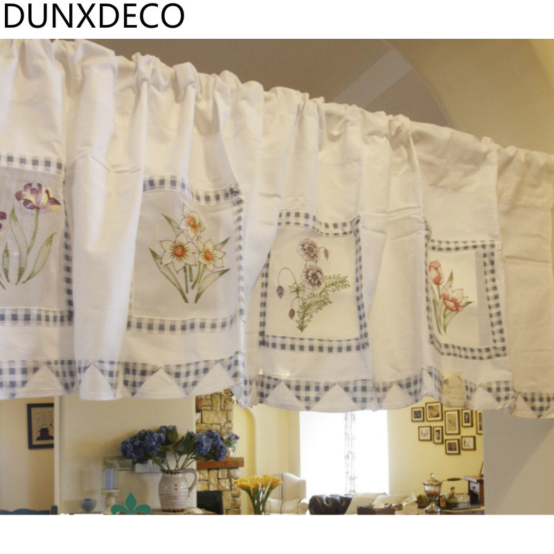 DUNXDECO Country Style Blue Flower Check Patchwork Cotton Curtains  Comfortable Kitchen Half Curtain Gardinean Home Decoration
