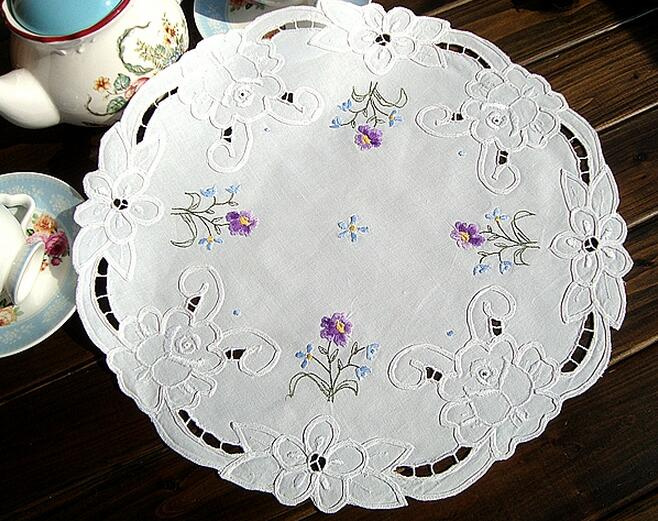 37cm HOT White embroidery table place Mat cloth lace cotton round Placemat doilies glass Coaster pot mug cup holder Pad Kitchen