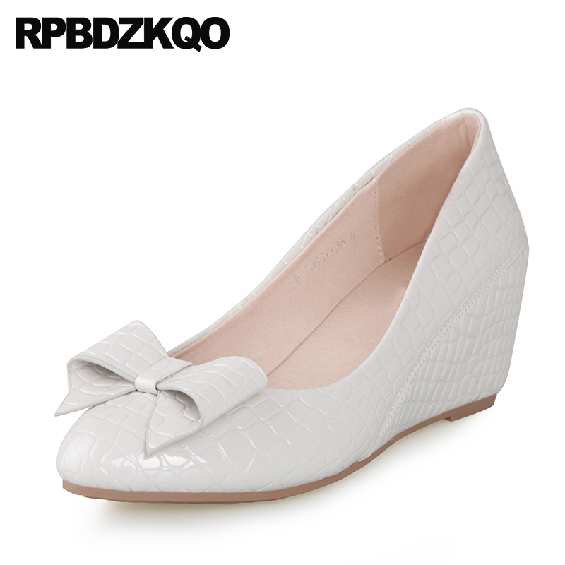 White Wedge Shoes Size 4 34 High Heels Closed Ladies Pointed Toe Cheap Slip On Pumps Medium 2018 Bow Casual Snakeskin Designer цена и фото