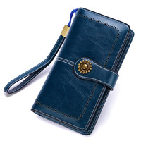 New 2018 Genuine Leather Women Real Oil Wax Leather Long Clutch Wallet Retro Metal Lady Purse Female Cellphone Bag