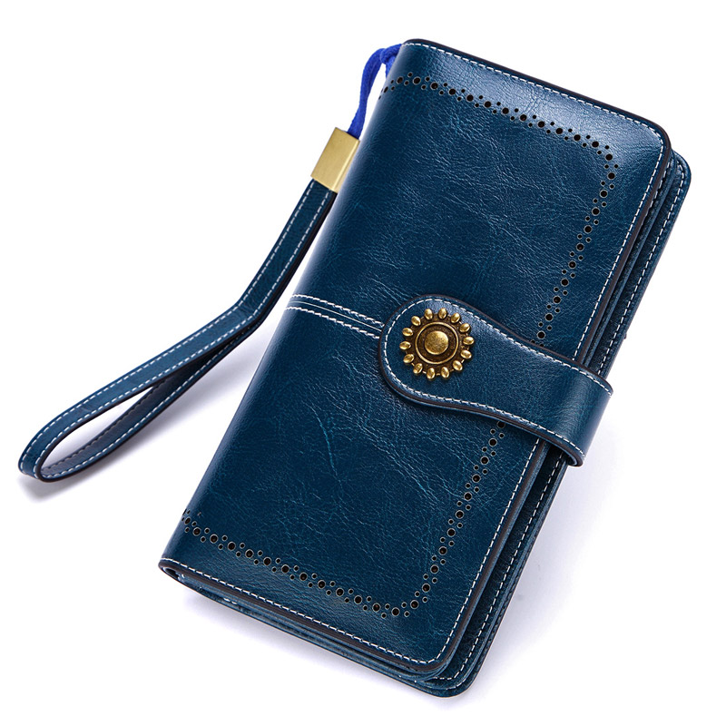 New 2019 Genuine Leather Women Real Oil Wax Leather Long Clutch Wallet Retro Metal Lady Purse Female Cellphone Bag