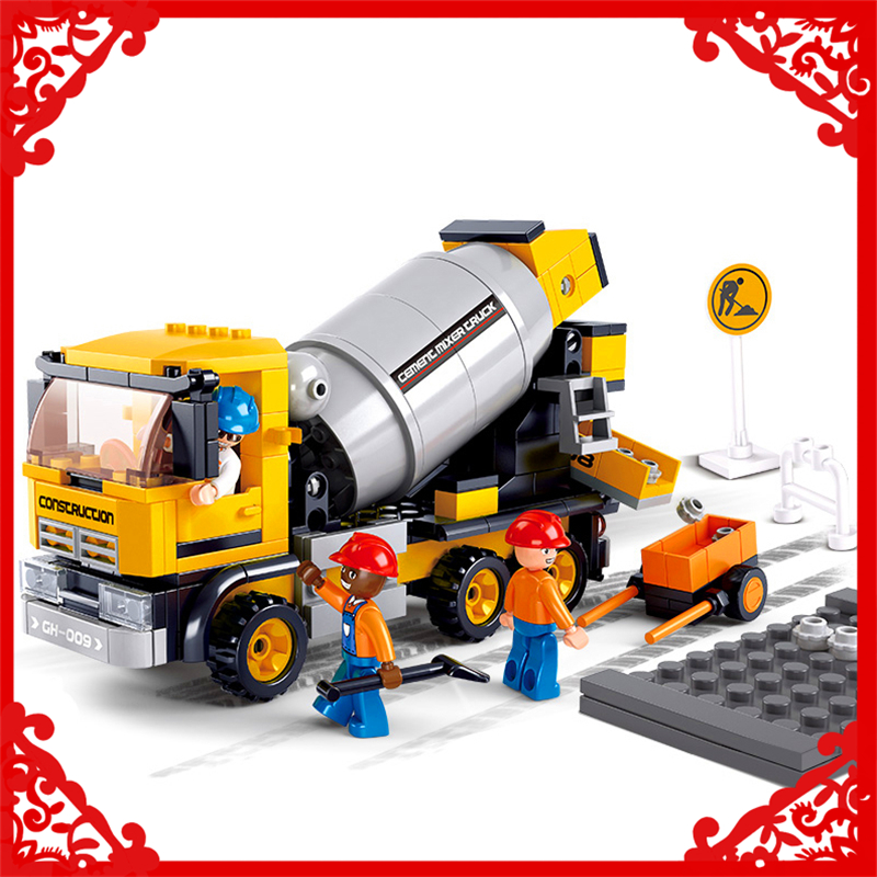 SLUBAN 0550 Block Engineering Cement Mixer Model 296Pcs DIY Educational  Building Toys Gift For Children Compatible Legoe new lepin 16008 cinderella princess castle city model building block kid educational toys for children gift compatible 71040