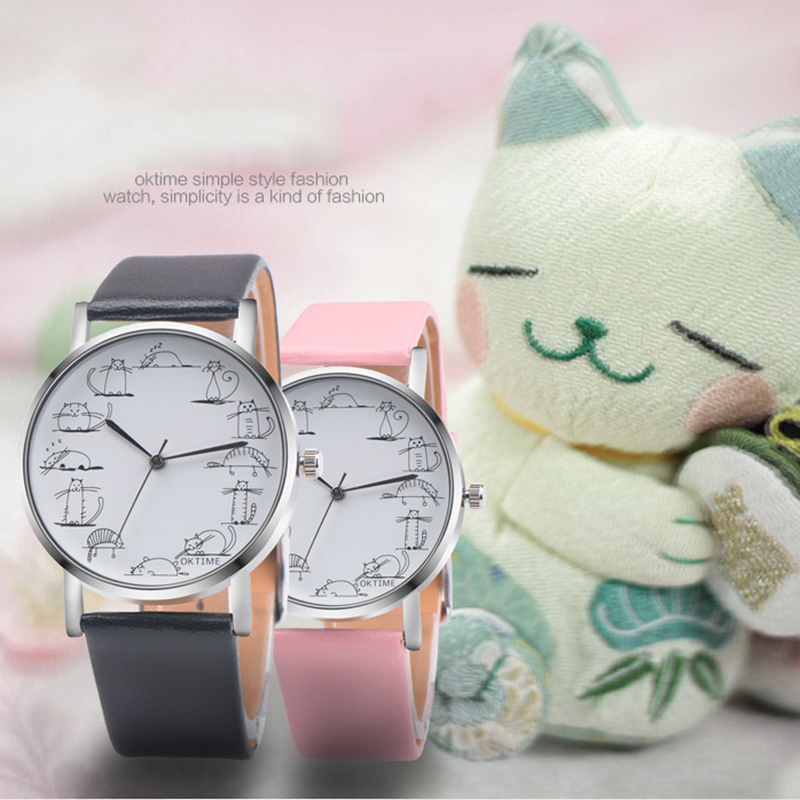 2017 new Fashion Couple Casual Watch Little Cat Pattern wristwatch for Students Quartz cartoon watch clock hours relojes  brand new fashion watches women casual cat pattern wristwatch for girl quartz cartoon watch saat hours relojes gift ladies watch