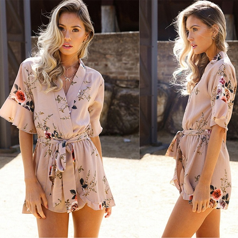 Fashion Bohemian Flower Printed Lace Up Jumpsuit For Women 2019 Summer Ruffle Short Sleeve V Neck Romper Beach Playsuit(China)