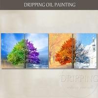 Художник команда питания высокое качество ручная роспись abstract 4 Seasons пейзаж маслом на холсте 4 шт. пейзажной живописи